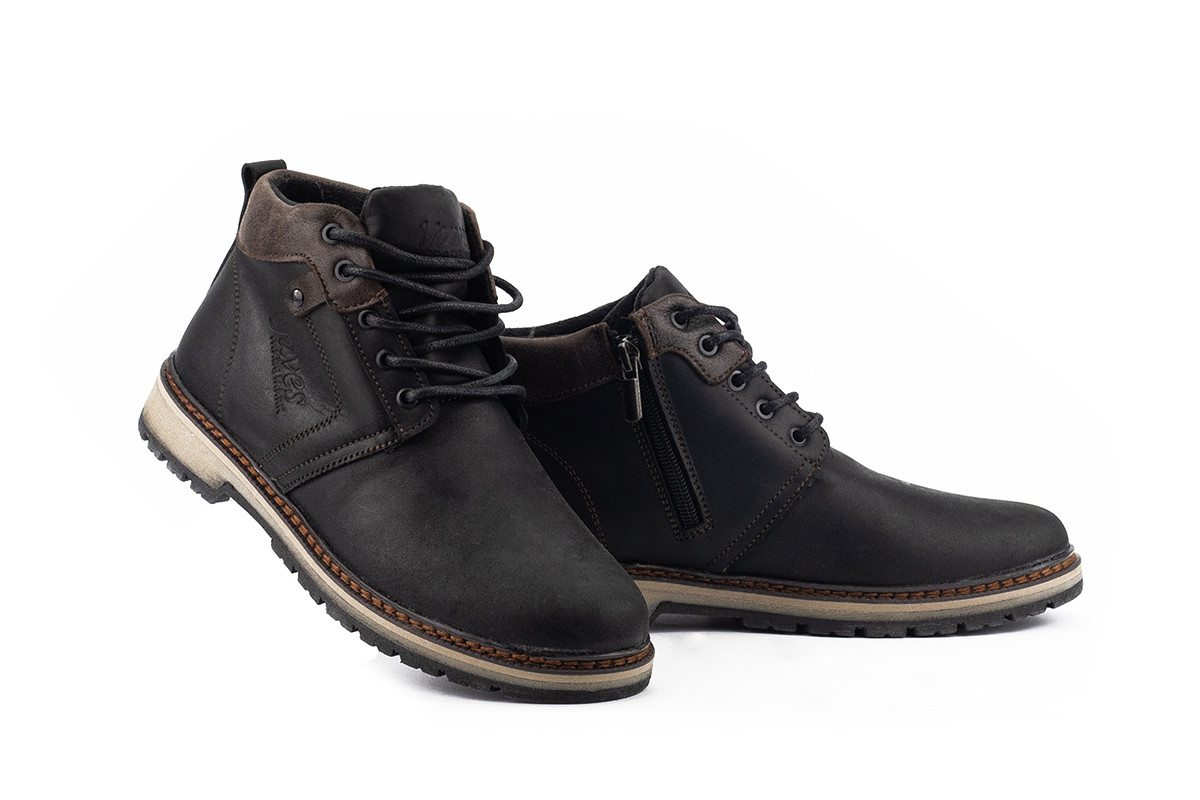 Подростковые ботинки кожаные зимние черные-матовые