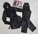 Теплая пижама женская с капюшоном и карманами Este 407 темно-серый., фото 3