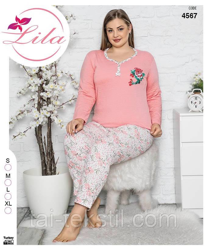 LILA пижама женская на байке БАТАЛ Турция (2XL)4562
