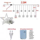Светодиодная гирлянда штора звездопад 138LED (гирлянда со звездами): длина 2,5м (теплый белый цвет), фото 6