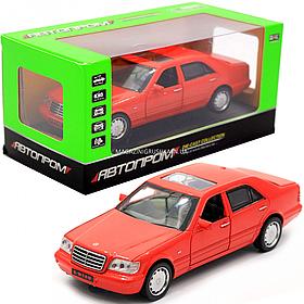 Детская машинка игровая автопром «Mercedes» W140, 15 см, свет, звук, двери открываются, красный (32014)
