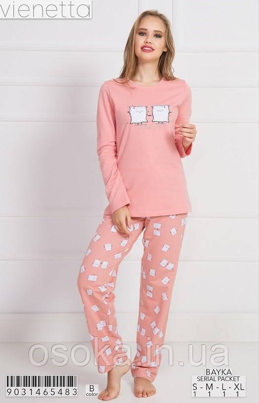 Женская пижама с брюками хлопок на байке Vienetta 9031465483 розовый