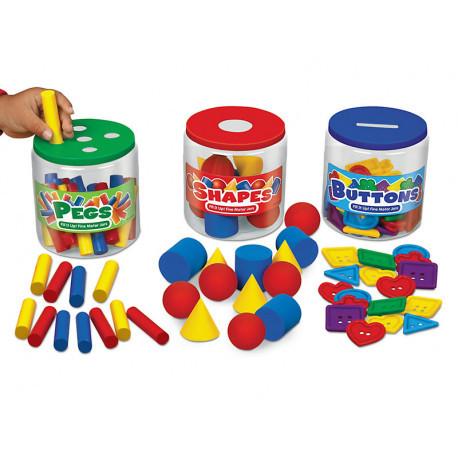 """Сортер-баночки с фигурами """"Цвет, форма, материал"""" Lakeshore"""