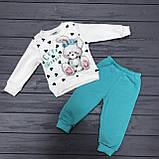 Детский костюм  тёплый на флисе для девочек оптом р.1-2-3 года, фото 2