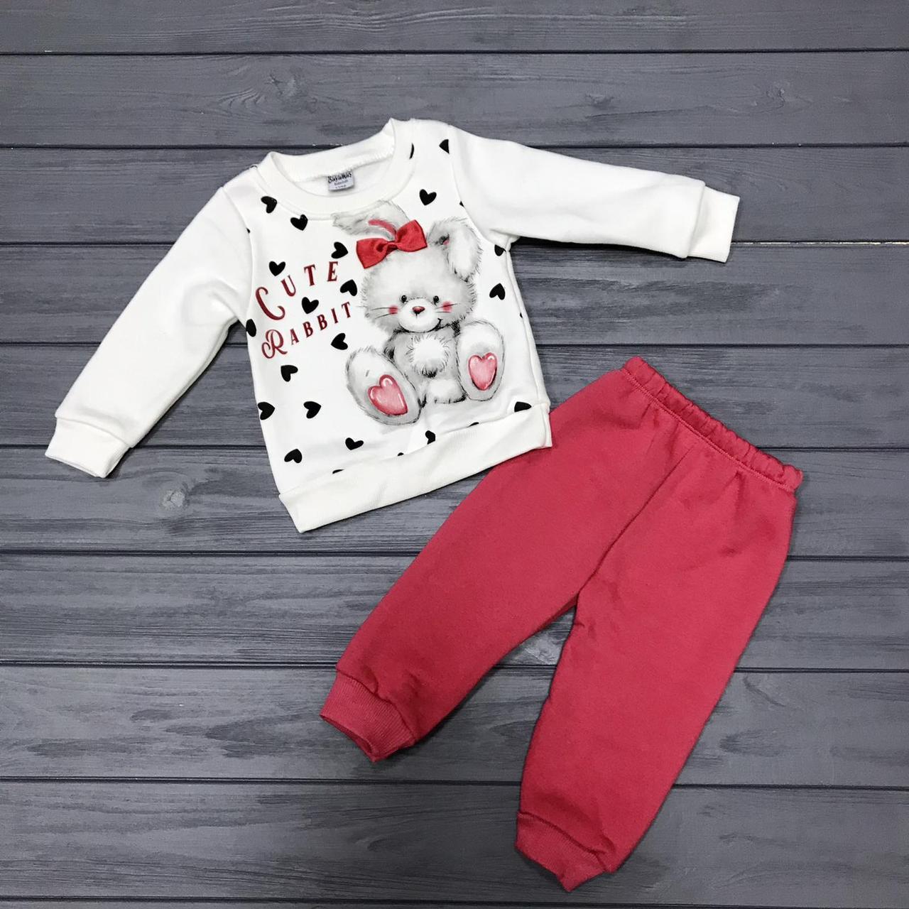 Детский костюм  тёплый на флисе для девочек оптом р.1-2-3 года