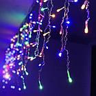 Гирлянда улица Бахрома 100 LED, Мультицветная RGB, белый провод, 5м., фото 4