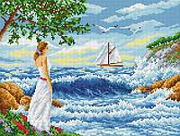 """Схема для вышивки бисером на габардине """"Ожидание у моря"""" Размер 35х27 см., фото 1"""