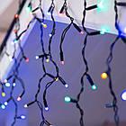 Гирлянда улица Бахрома 100 LED, Мультицветная RGB, черный провод, 5м., фото 3
