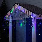 Гирлянда улица Бахрома 100 LED, Мультицветная RGB, черный провод, 5м., фото 4