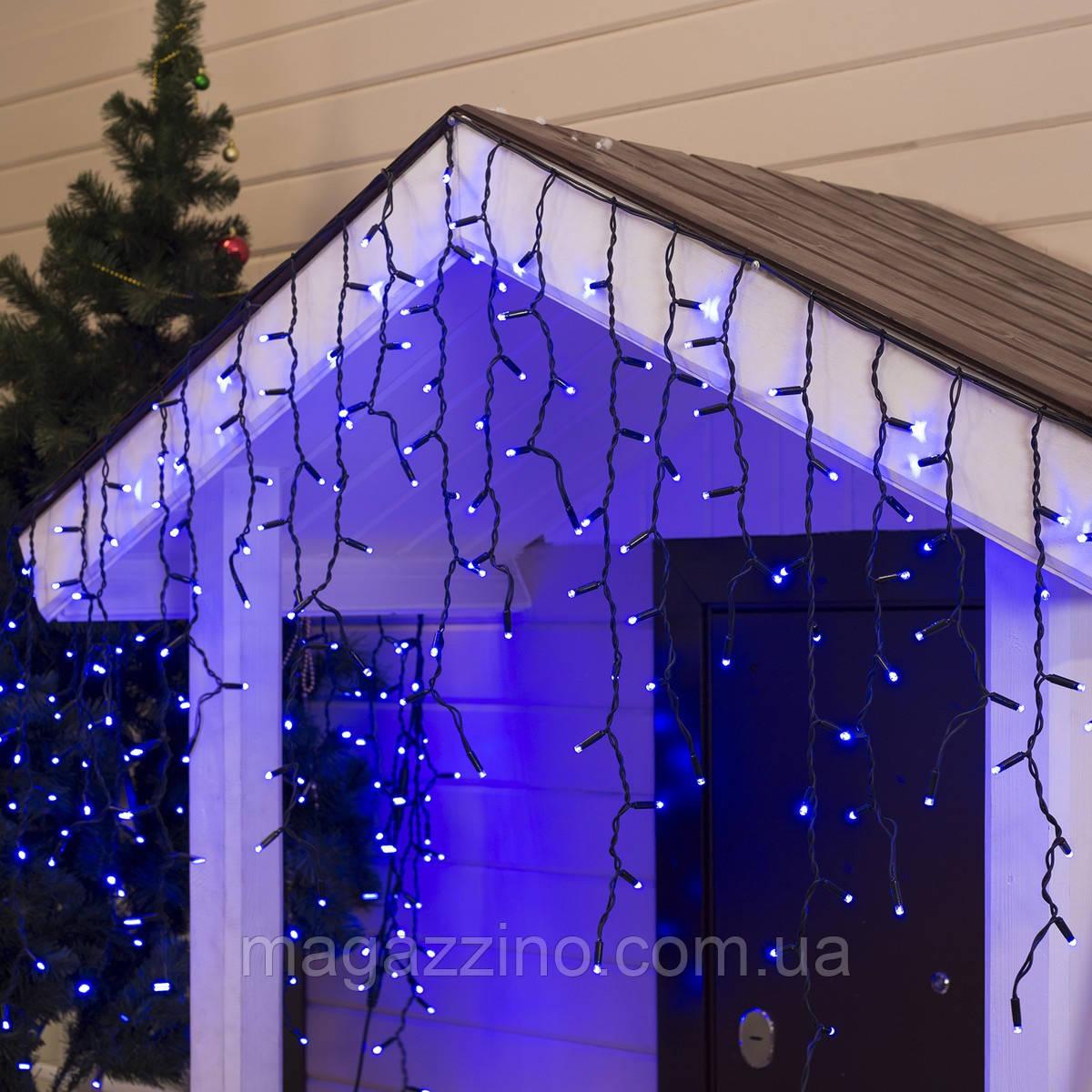 Гирлянда улица Бахрома 100 LED, Голубая (Синяя), черный провод, 5м.