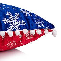Подушка, в которую можно спрятать подарок. Велюр красно-синий