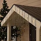 Гирлянда улица Бахрома 100 LED, Золотая (Теплый белый, Желтая), черный провод, 5м., фото 4
