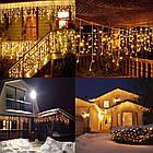 Гирлянда улица Бахрома 100 LED, Золотая (Теплый белый, Желтая), черный провод, 5м., фото 7