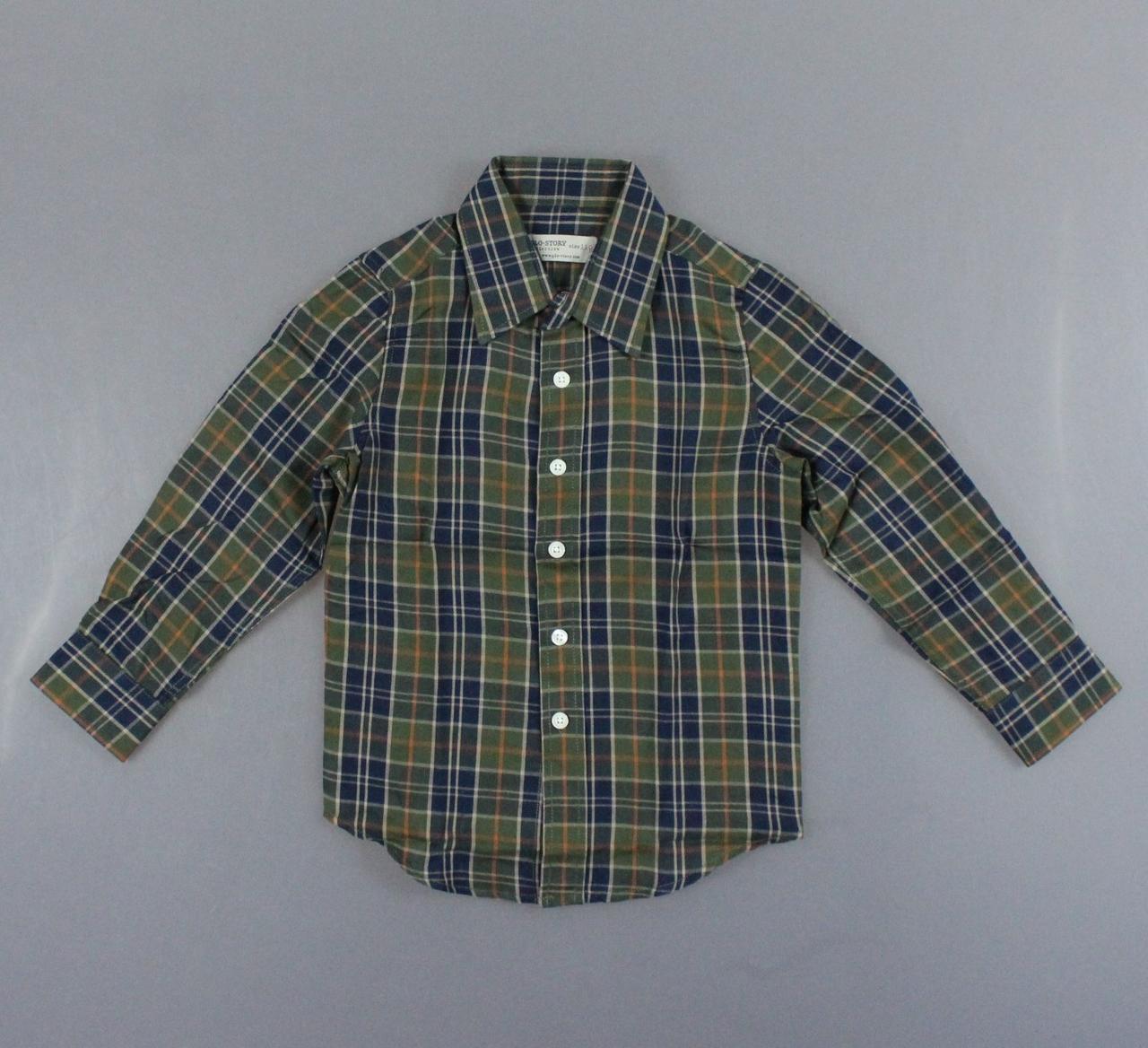{есть:110,120,130,140} Рубашка для мальчиков Glo-Story,  Артикул: BCS8490-зелёный [110]