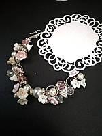Браслет с цветами и розовым хрусталем, фото 1