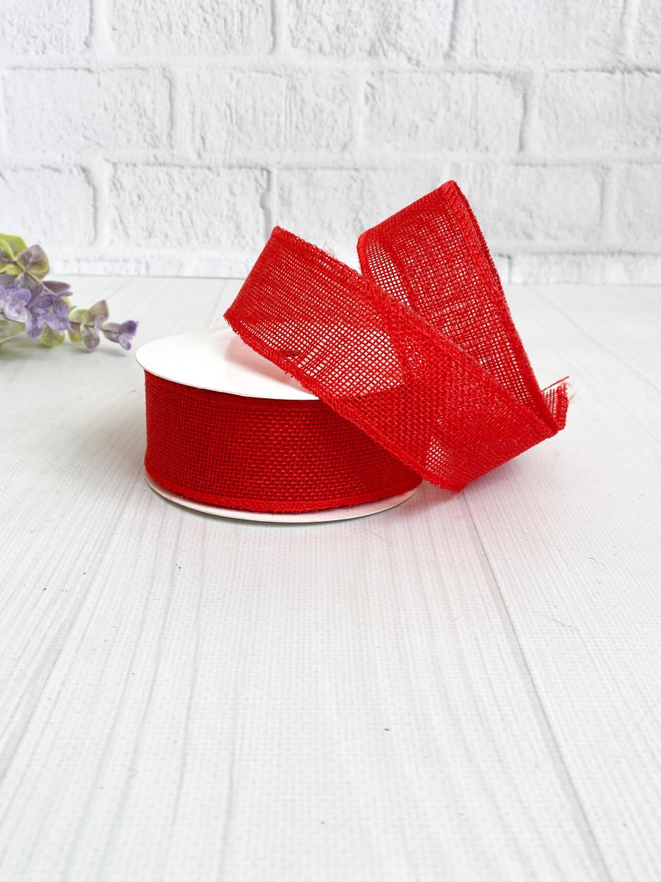 Мешковина с проволокой 3,8 см красная