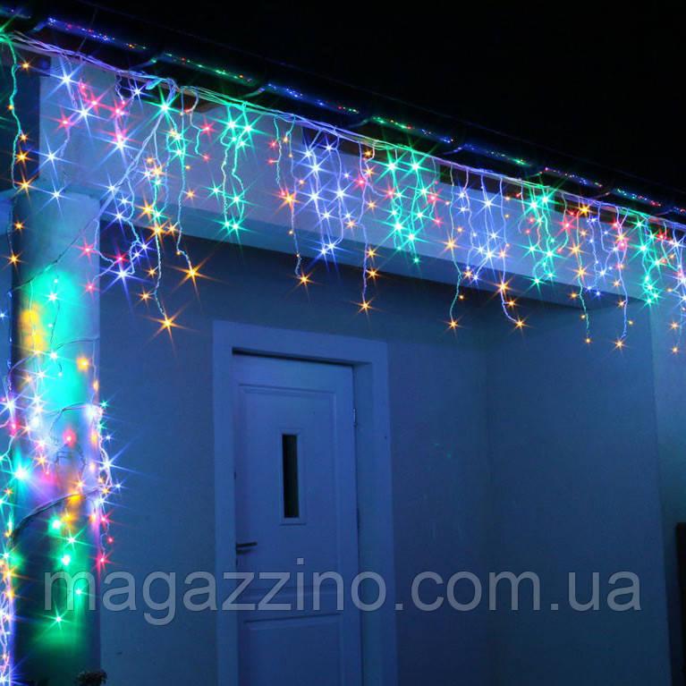 Гирлянда улица Бахрома 200 LED, Мультицветная RGB, белый провод, 10м.