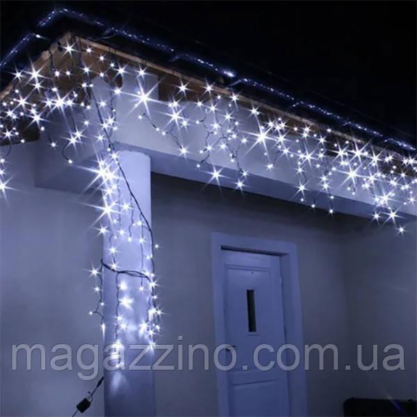 Гирлянда улица Бахрома 200 LED, Белая, черный провод, 10м.