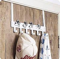 Вешалка на дверь для одежды металлическая, чёрная белая
