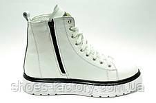 Женские белые ботинки на меху зимние кожаные, фото 3