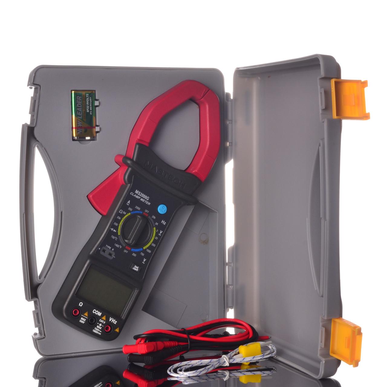 Токоизмерительные токовые клещи Mastech MS2000G в кейсе мультиметр и термопара