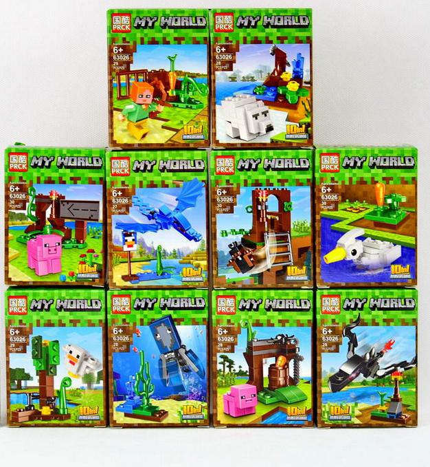 Набір Майнкрафт з 10 конструкторів PRCK 63026 Вихованці на прогулянці Minecraft 63026