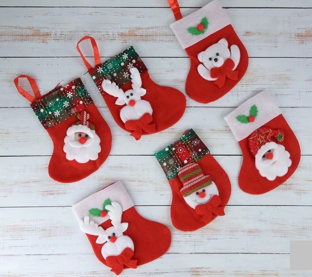 Носок для подарков новогодний Рождественский 15 см  только по 12 штук