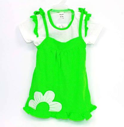 """КП-204 """"1"""" /р.74/ /салатовый/ Комплект для девочки : сарафан на завязках, футболка"""