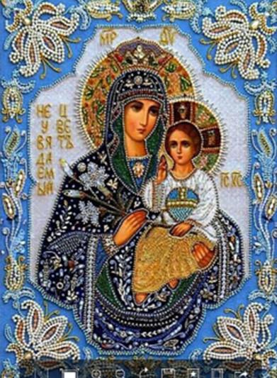 "Набор для творчества алмазная мозаика ""Богородица с младенцем"",30*40 см, без рамки, H8093"