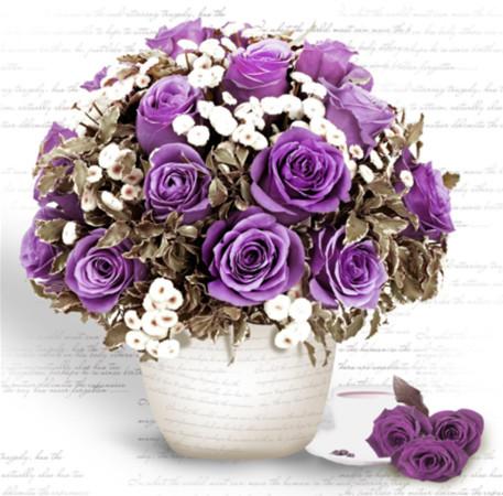 """Набор для творчества алмазная мозаика """"Букет фиолетовых роз"""", 30*40 см, без рамки, H8108"""