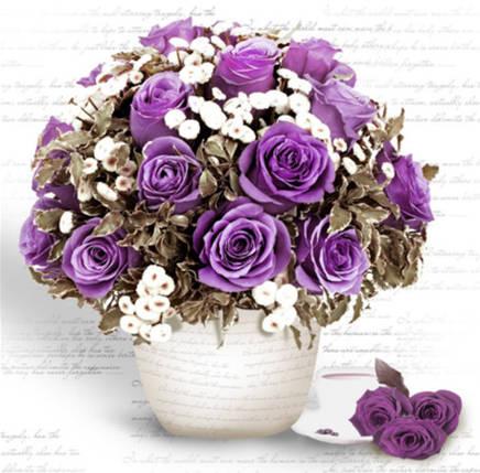 """Набір для творчості алмазна мозаїка """"Букет фіолетових троянд"""", 30*40 см, без рамки, H8108, фото 2"""
