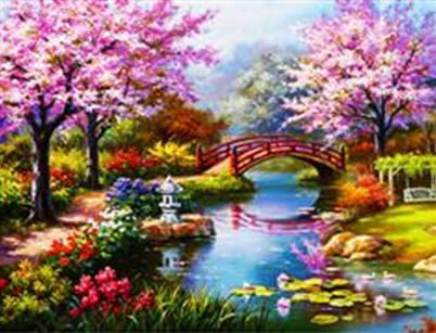 "Набор для творчества алмазная мозаика ""Весенний сад"", 30*40 см, без рамки, H8186, фото 2"