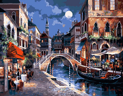 "Набор для творчества алмазная мозаика ""Вечер в Венеции"", 30*40 см, без рамки, H8581"