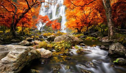 """Набір для творчості алмазна мозаїка """"Гірський водоспад"""", 30*40 см, з рамкою, H8819, фото 2"""