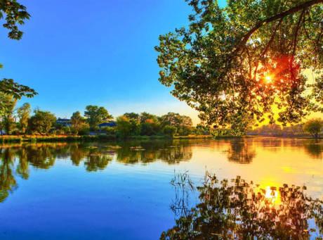 """Набір для творчості алмазна мозаїка """"Захід сонця на озері"""", 30*40 см, з рамкою, H8549, фото 2"""