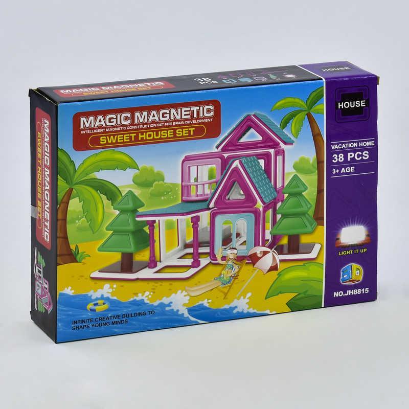 """Конструктор магнитный JH 8815 (48) """"Пляжный домик"""", 38 деталей, в коробке"""