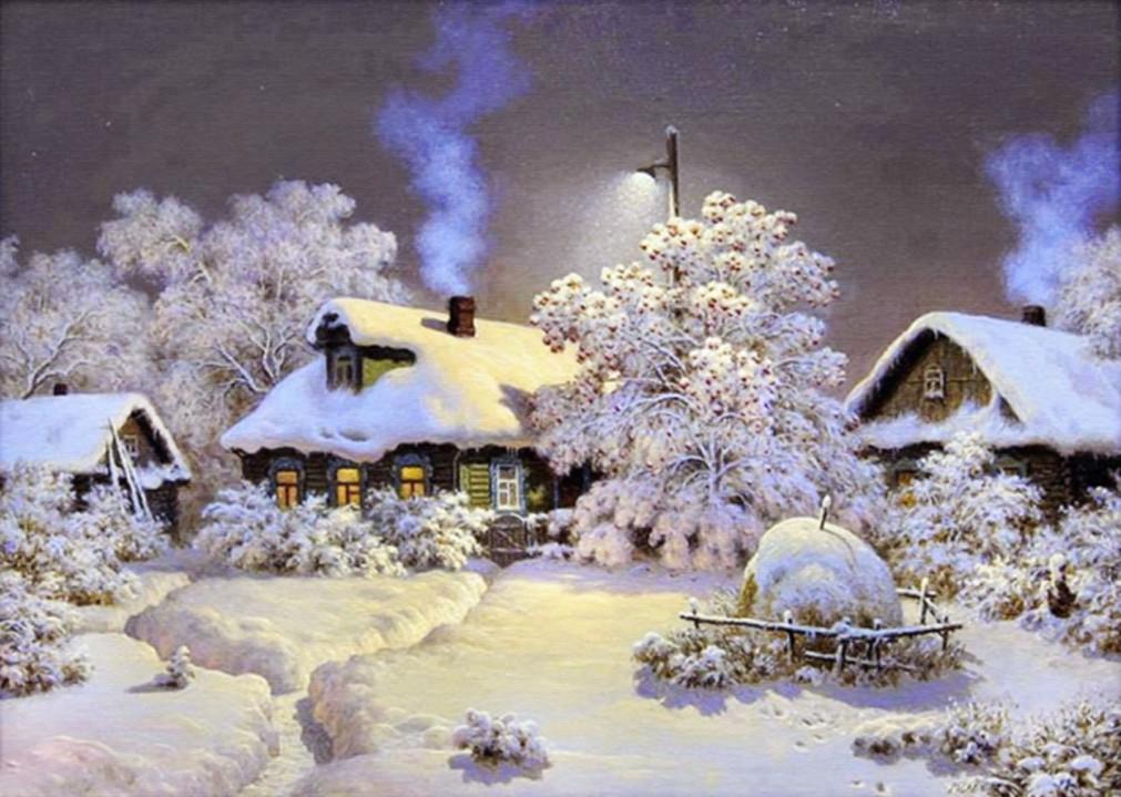 """Набір для творчості алмазна мозаїка """"Зима в селі"""", 30*40 см, з рамкою, H8162"""