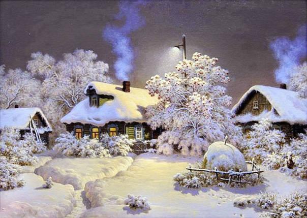 """Набір для творчості алмазна мозаїка """"Зима в селі"""", 30*40 см, з рамкою, H8162, фото 2"""