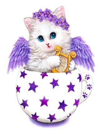 """Набор для творчества алмазная мозаика """"Котёнок с крыльями"""", 30*40 см, без рамки, H8239, фото 2"""