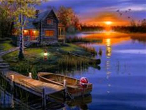 """Набор для творчества алмазная мозаика """"Коттедж на озере"""", 30*40 см, без рамки, H8217, фото 2"""
