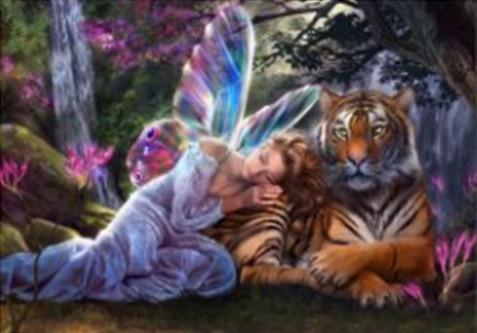 "Набор для творчества алмазная мозаика ""Красавица и тигр"", 30*40 см, без рамки, H8441"