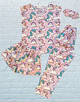 """Женская пижама (Футболка, Шорты, Штаны, Маска для сна) """"Единороги на розовом"""", Хлопок 100%"""