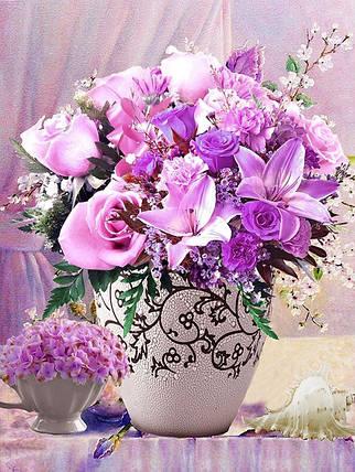 """Набор для творчества алмазная мозаика """"Лилии и розы"""", 30*40 см, без рамки, H8165, фото 2"""