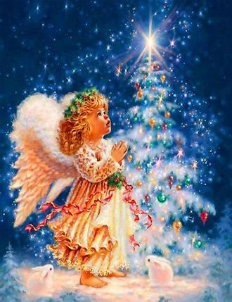 """Набір для творчості алмазна мозаїка """"Маленький ангел"""", 30*40 см, без рамки, H8209, фото 2"""