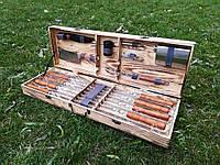 """Набор из 8 шампуров для мяса и люля-кебаб """"Master"""" (730х15х3 мм)+комплект аксессуаров в деревянном кейсе"""