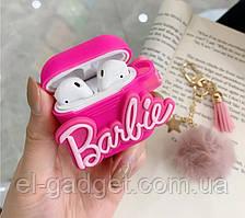 Чехол футляр для наушников Apple AirPods Барби розовый + брелок меховый
