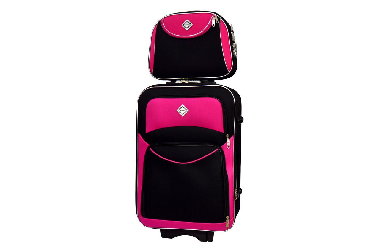 Комплект чемодан + кейс Bonro Style (небольшой) черно-розовый