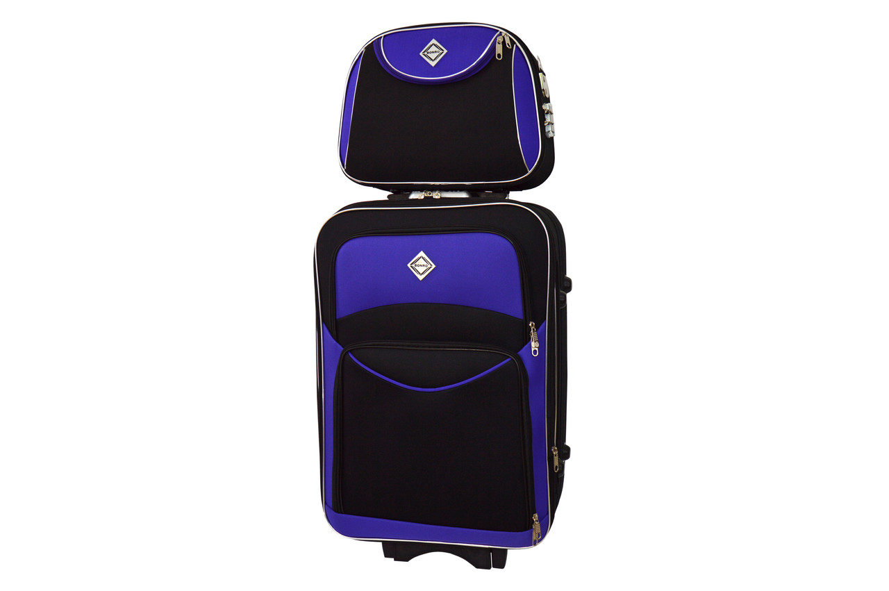Комплект чемодан + кейс Bonro Style (небольшой) черно-т.фиолетовый