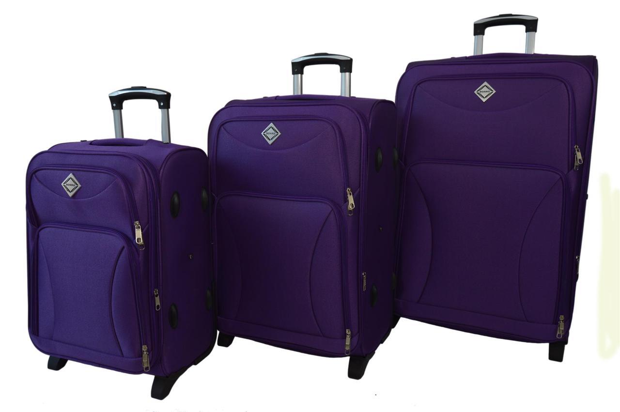 Чемодан Bonro Tourist набор 3 шт. фиолетовый