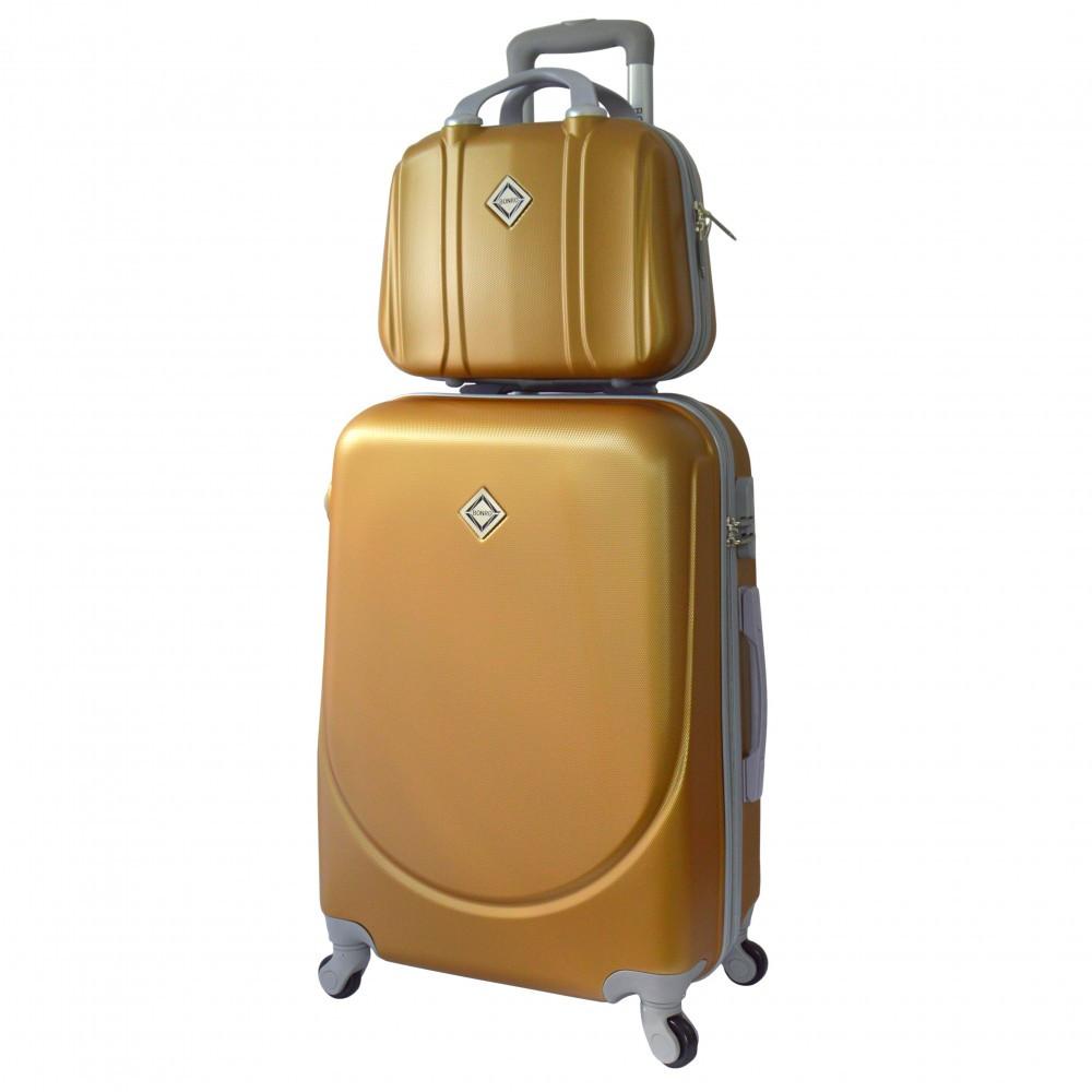 Комплект чемодан Bonro Smile (небольшой) + кейс Bonro Smile (средний) золотой